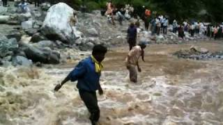 Badrinath India  city pictures gallery : Landslide broke the road to Badrinath, India