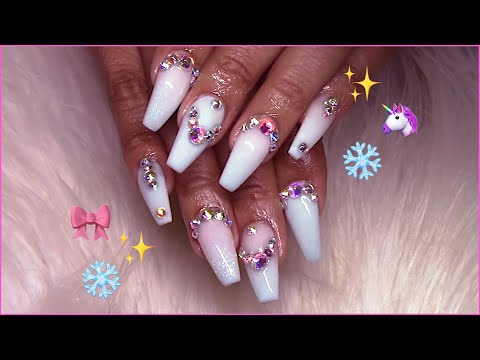 Dainty!  Milky White to Powder Blue Bling Ombré Acrylic Nails