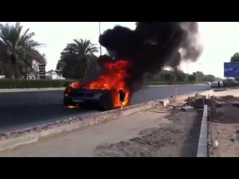 حريق سيارة لامبورجيني في الكويت