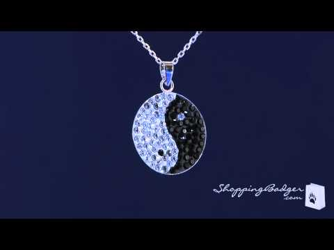 Black & White Crystal Yin Yang Necklace in Sterling Silver
