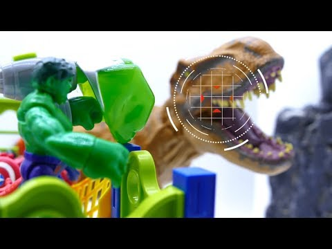 Toys Play Time T-rex Attack Avengers In Water Park Toy Story For Kids Short Action Movie 2018
