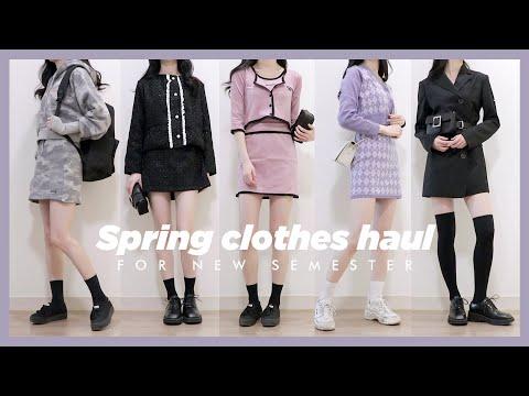 (ENG) 새학기 봄 패션 하울 / 캠퍼스룩, 투피스 위주 Spring clothes haul for new semeste… видео