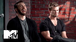 Chris Evans & Chris Hemsworth Eat Doritos   MTV News