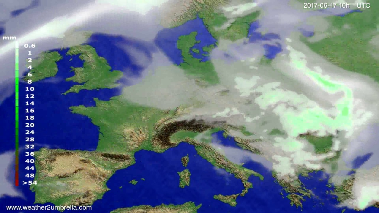 Precipitation forecast Europe 2017-06-15