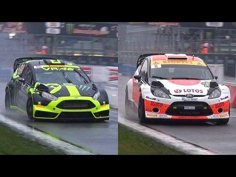 valentino rossi vs robert kubica - monza rally master show 2014