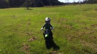 8. 4 year old motorbike rider riding his Kawasaki kdx50 dirtbi