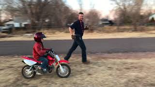 7. Honda CRF50F - 5 year old LEARNING TO RIDE!