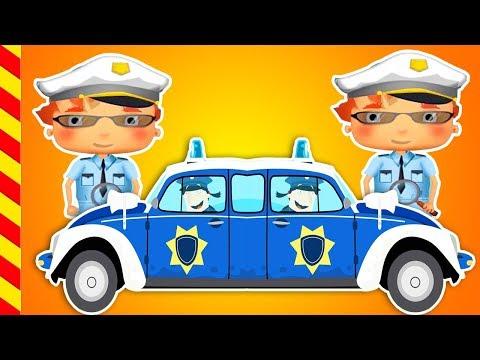 Мультик про полицию. Машина с мигалкой ловит воришку. Мультики про пого… видео