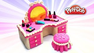 Play Doh Dolls Cosmetics Set. DIY Dollshouse Dressing Table for Dolls. Children Educational Video