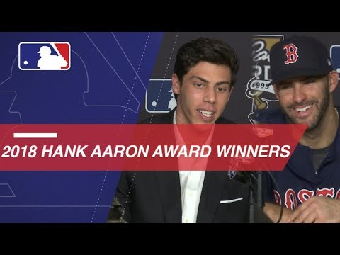 Video: 2018 Hank Aaron Award given to Yelich and Martinez