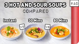 3 Hot and Sour Soup Recipes COMPARED (Instant vs Vegan vs Chef's Version) by SORTEDfood