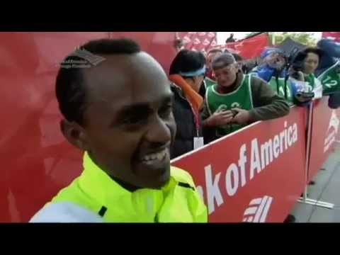 Tsegaye Kebede - Excited Ethiopian Athlete Tsegaye Kebede interview With NBC reporter after Winning Chicago Marathon 2012.