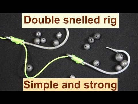 How to tie a double hook snell rig double hook snelled rig simple fishing knot youtube video ccuart Choice Image