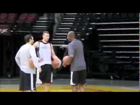 Donatas Motiejunas workout with Hakeem Olajuwon - Day 4 Training Camp