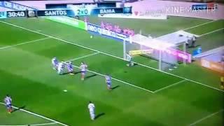 Terceiro gol do Santos, Bruno Henrique. Santos 3 x 0 Bahia.