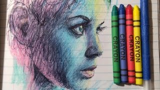 Drawing a portrait with back to school supplies.