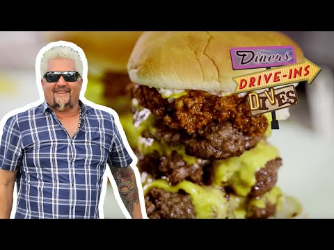 Guy Fieri Eats CORNDOG Shrimp and a Triple Chili Burger | Diners, Drive-Ins and Dives | Food Network