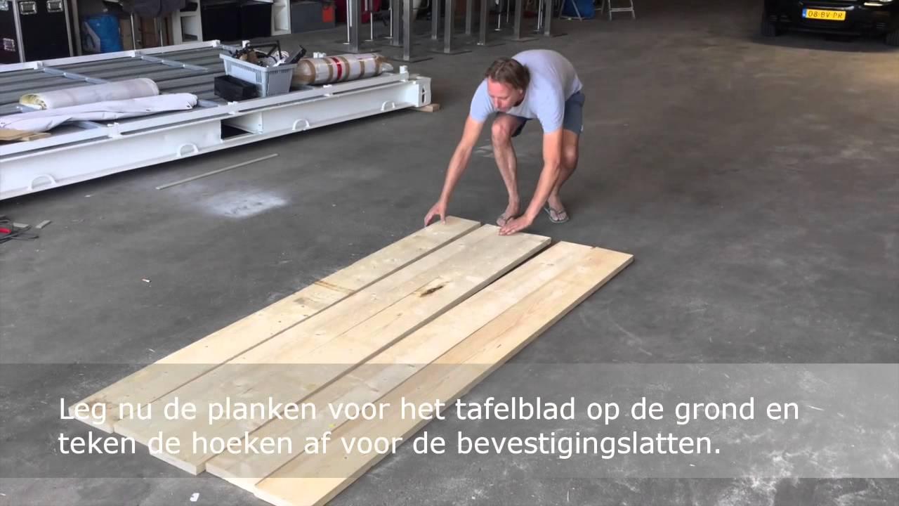 Steigerhout tafel basic for Tafelblad steigerhout maken