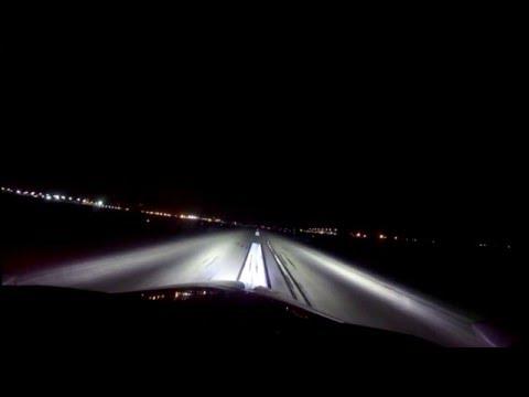 Cessna 310; Night landing & Review Whelen Parmetheus Plus & Teledyne Alphabeam LED Landing Lights