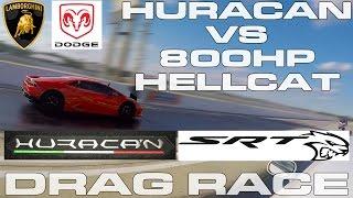 800HP Challenger Hellcat vs Lamborghini Huracan Drag Racing 1/4 Mile by DragTimes