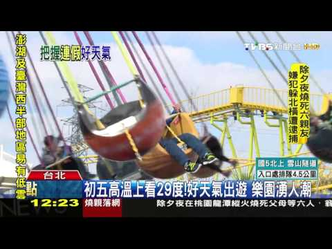 【TVBS】初五高溫上看29度!好天氣出遊 樂園湧人潮