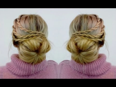 Braid hairstyles - SUPER EASY HAIRSTYLE EASY BUN WITH ROPE BRAIDS  Awesome Hairstyles