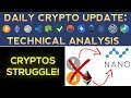 Cryptos STRUGGLE! Nano Outperforms The Rest  (Daily Update)