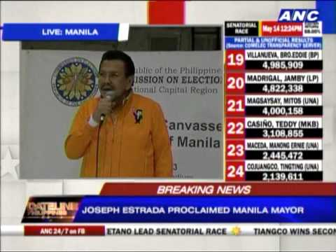 manila - Mayor-elect Joseph Estrada and his runningmate Isko Moreno were formally proclaimed by city board of canvassers in Manila. Dateline Philippines, May 14, 2013.