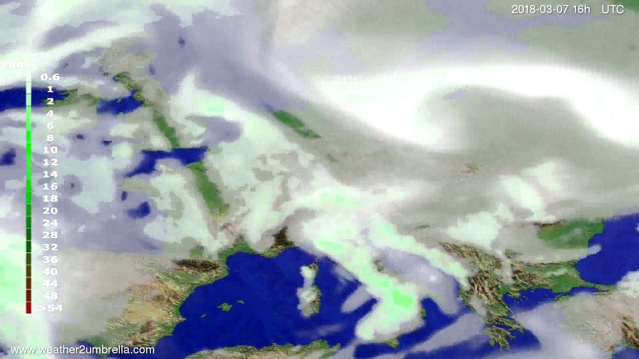 Precipitation forecast Europe 2018-03-04
