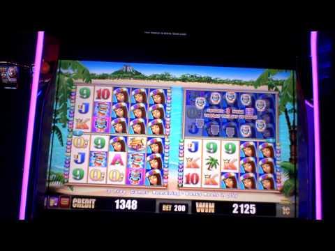 Revel Resort Casino slot machine bonus win on Tiki Sun in AC.