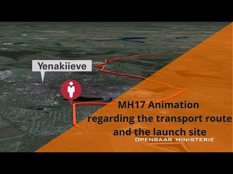 Dutch prosecutors office video showing the transport route and launch site of the BUK that shot down flight MH17.