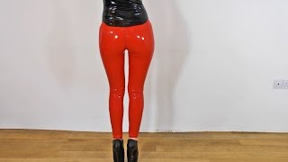 Sexy Latex Liquid Leggings Red Slinky Dance Fetish