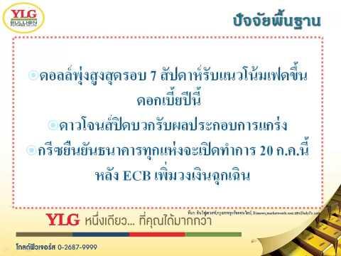 YLG บทวิเคราะห์ราคาทองคำประจำวัน 17-07-15