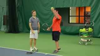 http://www.fuzzyyellowballs.com/youtuberedirect?video=SgEvgmnHoFAThis tennis serve toss drill will add power to your serve.  Tennis serve power comes from your back hip, and your toss technique must allow you to rotate your hips correctly, and store energy properly.