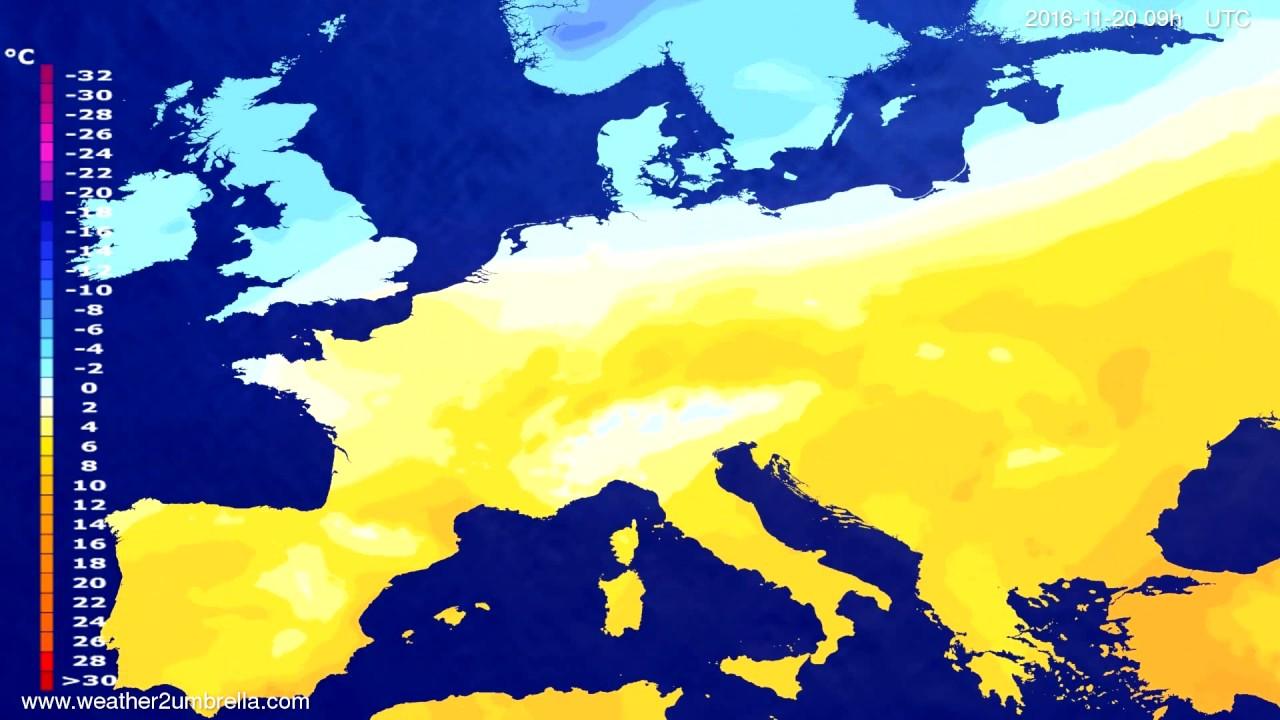 Temperature forecast Europe 2016-11-16