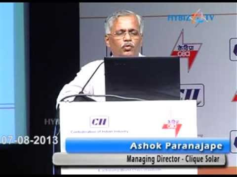 Ashok Paranajape, Managing Director - Clique Solar speaking at Power Plant Summit 2013, HICC, Hyderabad