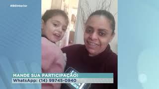 Emoção ao menina ver o pai deixando hospital em Garça