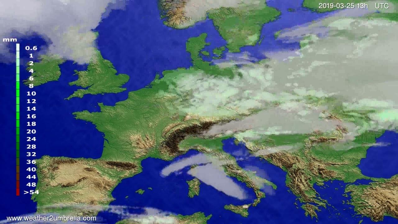 Precipitation forecast Europe 2019-03-25