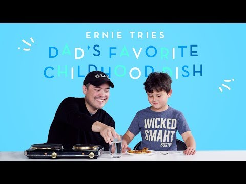 Ernie Tries His Dad's Favorite Childhood Dish! | Kids Try | HiHo Kids