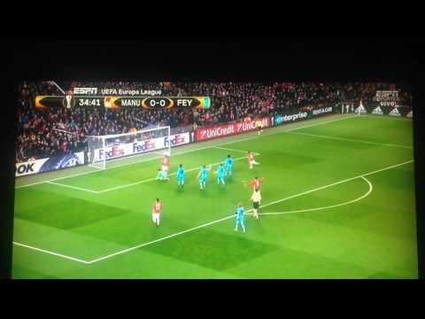 Manchester United Vs Feyenoord - Rooney Goal 1st Time UEFA EUROPA LEAGUE