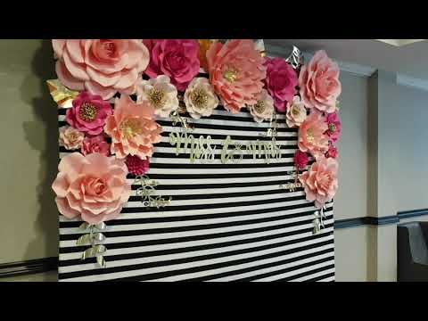 Kate spade inspired paper flowers bridal shower backdrop