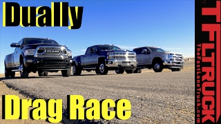 Dually Duel: 2017 Ford F-350 vs Chevy Silverado 3500 vs Ram 3500 Drag Race by The Fast Lane Truck