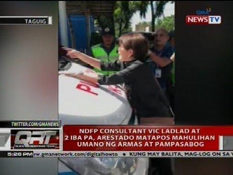 NDFP consultant Vic Ladlad at 2 iba pa, arestado matapos mahulihan umano ng armas at pampasabog