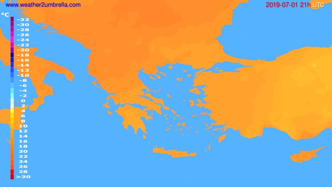Temperature forecast Greece // modelrun: 00h UTC 2019-06-30
