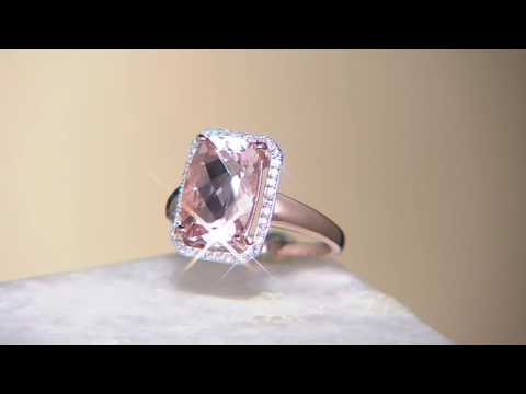 Elongated Cushion Cut Morganite & Diamond Ring 14K Gold on QVC