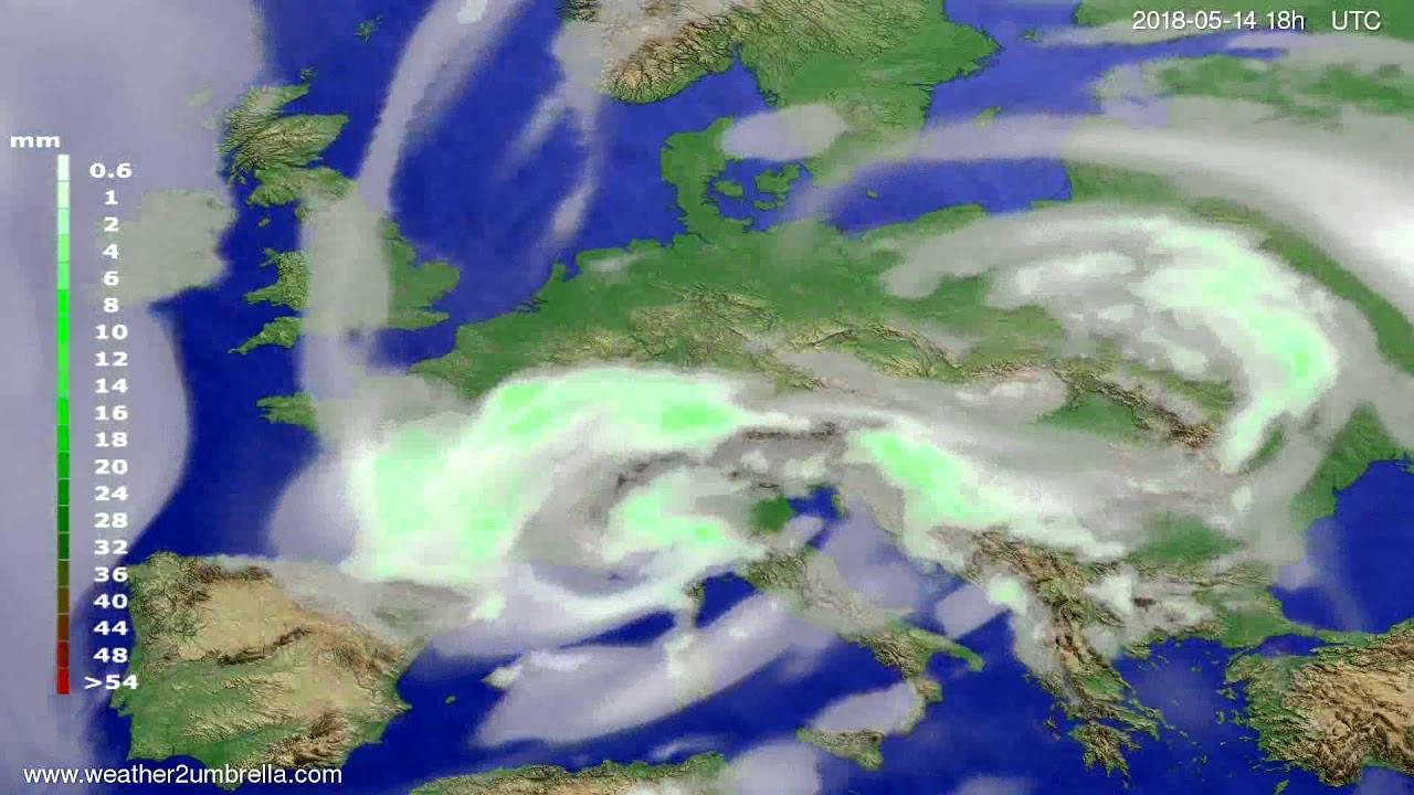 Precipitation forecast Europe 2018-05-11