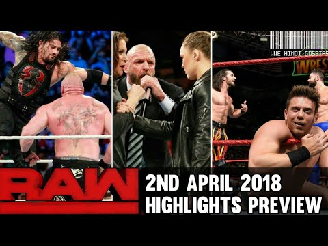 WWE Monday Night Raw 2nd April 2018 Hindi Highlights Preview 4/2/2018 Roman reigns vs Brock lesnar