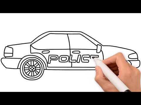 Cách vẽ tranh tô màu Xe ô tô cảnh sát || How to Draw Police Car