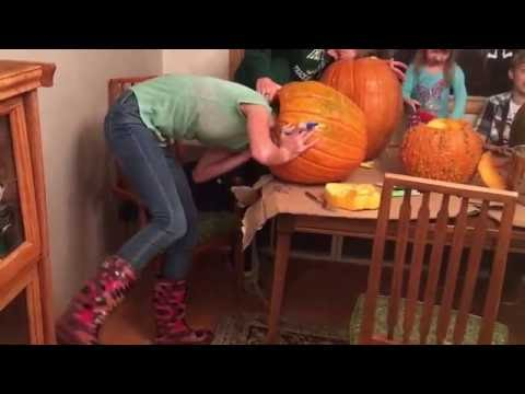 Girl Gets Her Head Stuck in Pumpkin