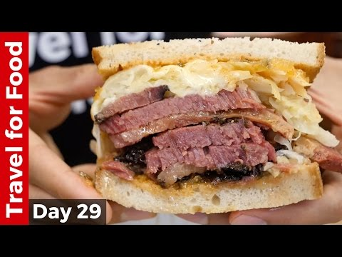New York City Food Tour : HUGE Pastrami Sandwich At Katz's Deli And The Halal Guys!
